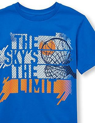 The Children's Place Boys Short Sleeve 'The Sky's The Limit' Basketball Graphic Tee
