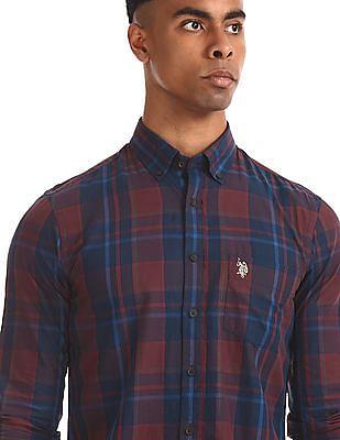 U.S. Polo Assn. Red Button Down Collar Check Shirt