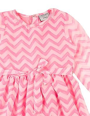 Cherokee Girls Chevron Printed Fit And Flare Dress