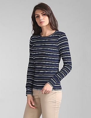 GAP Feather Weight Ribbed Stripe Long Sleeve Crew Neck T-Shirt