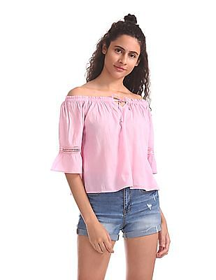 Aeropostale Striped Off Shoulder Top
