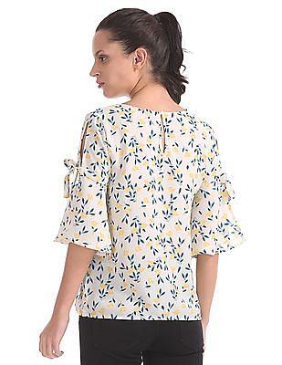 Elle Studio Floral Printed Bell Sleeve Top