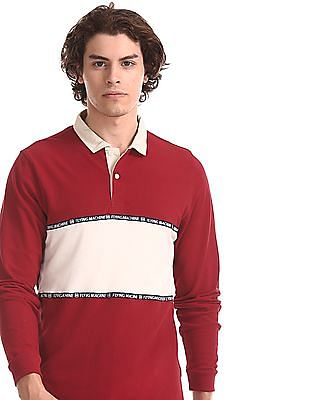 Flying Machine Red Long Sleeve Colour Block Polo Shirt