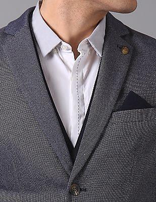 True Blue Slim Fit Patterned Weave Blazer