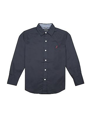 Nautica Kids Boys Solid Regular Fit Shirt