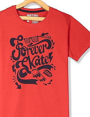 FM Boys Red Boys Graphic Front T-Shirt