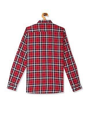 U.S. Polo Assn. Kids Red Boys Spread Collar Check Shirt