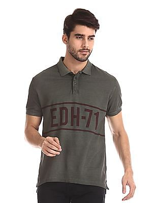Ed Hardy Brand Print Pique Polo Shirt