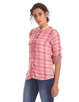 Flying Machine Women Striped Neck Check Shirt