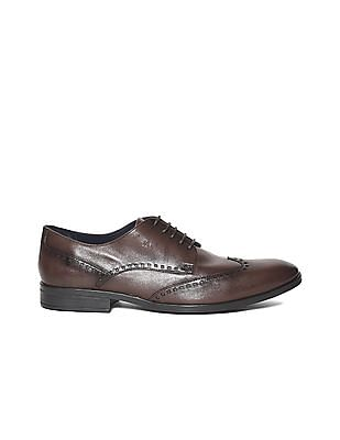 Arrow Brown Burnished Leather Derby Shoes