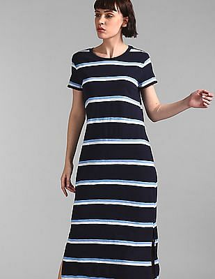 GAP Blue Crew Neck Striped T-Shirt Dress