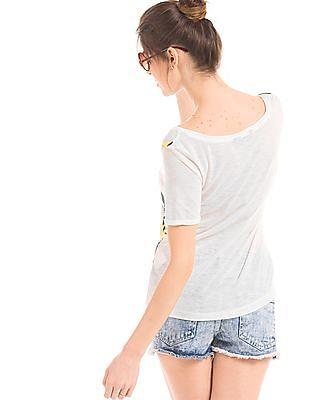 Elle Floral Print Scoop Neck T-Shirt