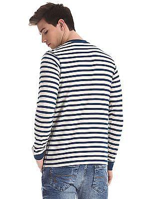 Cherokee Blue Horizontal Stripe Henley T-Shirt
