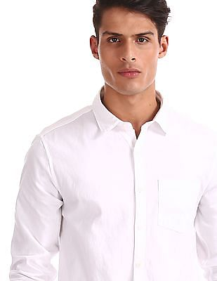 Ruggers White Spread Collar Patterned Shirt