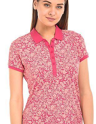 U.S. Polo Assn. Women Floral Print Regular Fit Polo Shirt