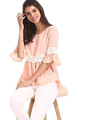 SUGR Pink Lace Accent Peplum Top