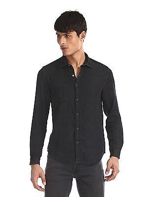 Cherokee Black Spread Collar Panelled Shirt