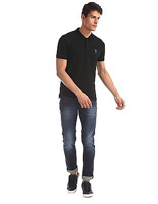 U.S. Polo Assn. Black Printed Pique Polo Shirt