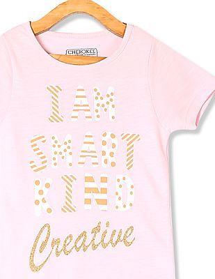 Cherokee Pink Girls Short Sleeve Graphic T-Shirt