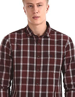 Roots by Ruggers Brown Mitered Cuff Check Shirt