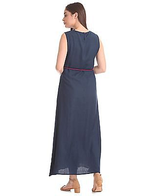 Bronz Embroidered Front Maxi Dress