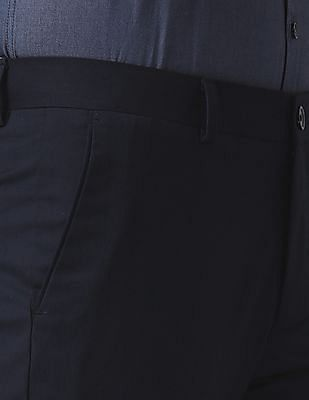 True Blue Slim Fit Solid Trousers