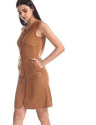 SUGR Brown Patterned Weave Shift Dress