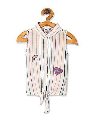 Donuts White Girls Striped Tie Up Hem Shirt