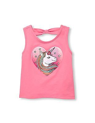 The Children's Place Toddler Girl Sleeveless Cutout Back Sequin Graphic Top