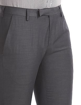 Excalibur Grey Contemporary Regular Fit Solid Trousers