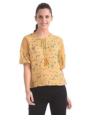 SUGR Floral Printed Lace Up Top