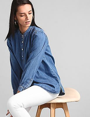 GAP Blue Shirred Popover Shirt