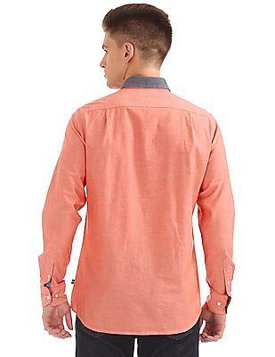 Nautica Long Sleeve Solid Chambray Shirt