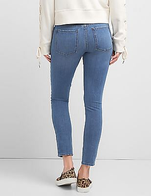GAP Women Blue Mid Rise Super Slimming True Skinny Jeans