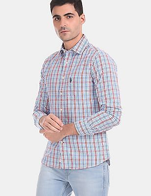 U.S. Polo Assn. Men Blue And Red Patch Pocket Check Shirt