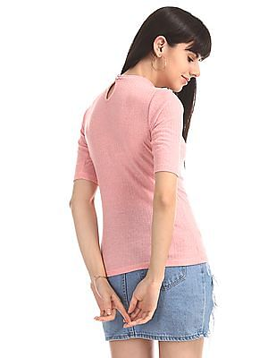 Elle Studio Pink Choker Neck Rib Knit Top