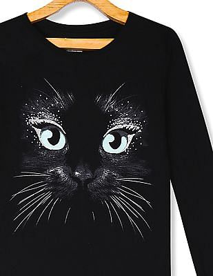The Children's Place Black Girls Glittery Cat Graphic T-Shirt