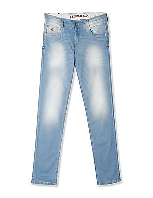 U.S. Polo Assn. Kids Blue Boys Mid Rise Stone Wash Jeans