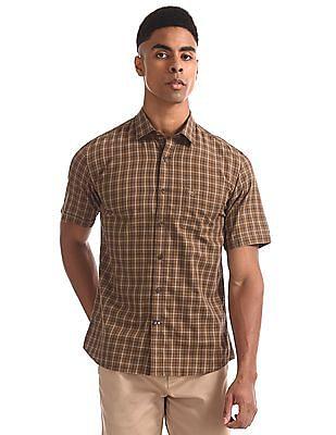 Arrow Sports Brown Regular Fit Spread Collar Shirt
