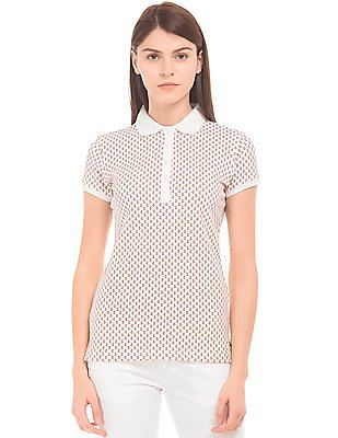 U.S. Polo Assn. Women Floral Print Regular Fit Polo Shirt
