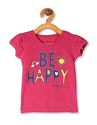 Donuts Pink Girls Puff Sleeve Glitter Print T-Shirt