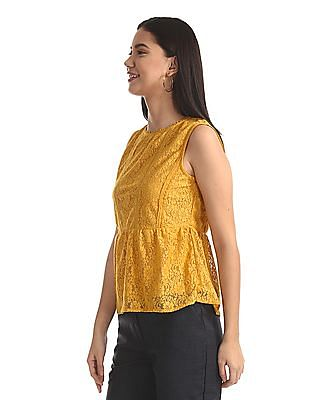 SUGR Yellow Sleeveless Lace Top