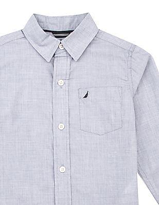 Nautica Kids Boys Long Sleeve Textured Shirt