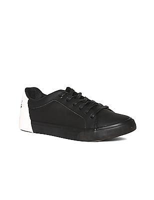Flying Machine Black Round Toe Mid Top Sneakers