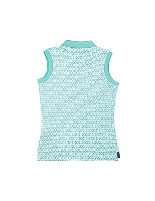 U.S. Polo Assn. Kids Girls Floral Print Sleeveless Polo Shirt