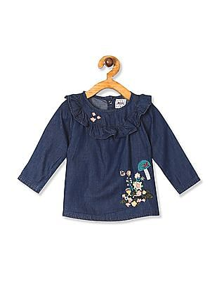 Donuts Blue Girls Ruffle Embroidered Top