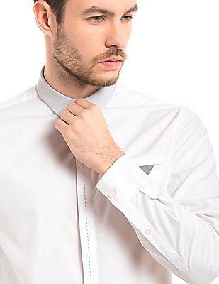True Blue Contrast Collar Slim Fit Shirt