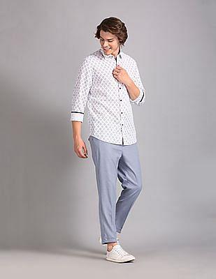 True Blue White Slim Fit Printed Shirt