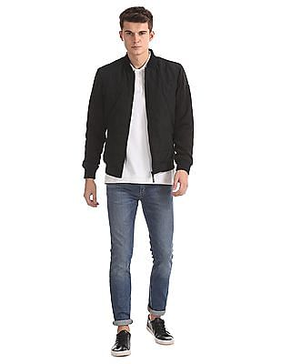 Flying Machine Ribbed Collar Panel Front Bomber Jacket