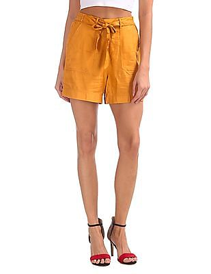 Cherokee Belted Waist Patterned Shorts